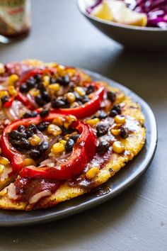 Mexican Grilled Polenta Pizza   edibleperspective.com #glutenfree #vegan