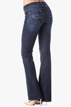 NWT! 7 FOR ALL MANKIND Original Boot Cut Jeans Nouveau New York Dark 24 SHORT