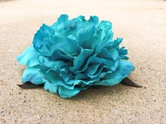Large Flower Hair Clip Teal Blue Floral Fabric Accessory Fascinator Hat Pin Brooch Natural Bridal Bride Bridesmaid Wedding Masquerade Burlesque Head Piece on Etsy, $22.00