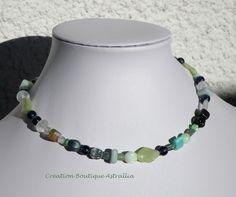 Collier à enrouler en perles de verre vert « Dordogne » par Boutique Astrallia : Collier par boutique-astrallia