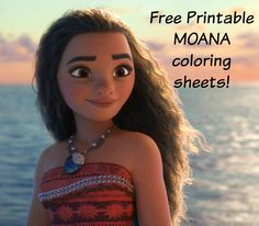princess moana portrait coloring page | free printable