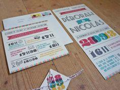 Faire part mariage sur mesure typographique et rétro - Ruban collectif