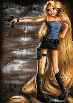 Tangled Princess, Rapunzel meets Jill Valentine from Resident Evil! If there was ever a time to learn how to paint hair, th. Rapunzel in Zombie Apocalypse! Disney Rapunzel, Disney Pixar, Walt Disney, Disney And Dreamworks, Disney Love, Disney Art, Disney Characters, Emo Disney, Creepy Disney