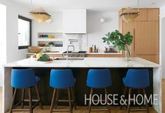 Get designer Sam Sacks tips for creating a modern family kitchen with color and quirk. Light Wood Cabinets, Light Wood Kitchens, Maple Cabinets, Cool Kitchens, Boutique Interior Design, Wood Bar Stools, Kitchen Tops, Kitchen Ideas, Kitchen Layouts