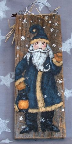 Snow falls on this charming Santa Claus, waving and carrying and old lantern. I just love his big mustache and the curled tip of his beard! This