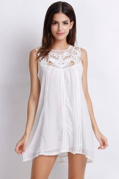 Sweet A-Line White Tank Dress.Check more from www.azbro.com .