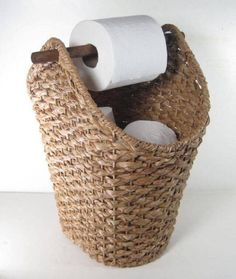 Wicker Rope Basket Toilet Paper Holder Rustic Country Style Bathroom Storage - Basket and Crate Country Style Bathrooms, Bad Styling, Toilet Paper Storage, Diy Toilet Paper Holder, Paper Roll Holders, Rope Basket, Bathroom Styling, Small Bathroom, Bathroom Ideas