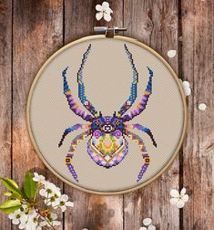 Mandala Spider Cross Stitch Pattern for Instant Download