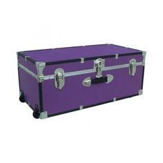 Details About Storage Trunk Chest Box Wheeled Cargo Locker Wood Metal  Portable Black Blue