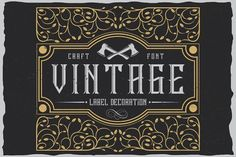 Vintage label typeface by Vozzy on @creativemarket