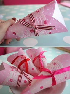 DIY pink party cones: Craft your own party cones using pink polka dot paper and spotty doilies from Wholeport. Here's what you'll need to create your own party cones at home and a very easy DIY tutorial
