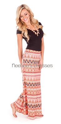 The matching necklace is so cute! Coral Watercolor Maxi Skirt