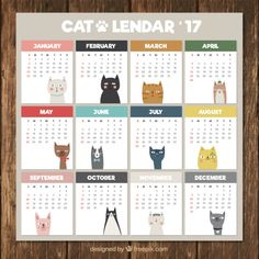 Cute calendar with different cats Premium Vector