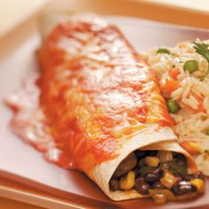 Black Bean Veggie Enchiladas Recipe from Taste of Home -- submitted by Nicole Barnett of Aurora, Colorado