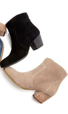 ankle bootie with an easy side zipper, rounded toe and oh-so-walkable stacked heel