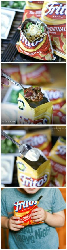 How to Make and Eat Walking Tacos by Picky Palate!  YUM!  #snacks