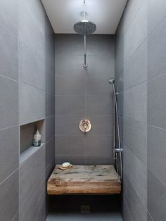 dream bathroom - gray tile, rain shower, ahhhh