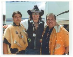 Andrew 'Guiding Cloud' Morales, Johnny Depp and Anthony Morales, on location at the filming of The Lone Ranger