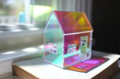 Rainbow Iridescent Acrylic House - mirrored house structure on Etsy House Of Mirrors, Stationery Craft, Interesting Buildings, Little Plants, Through The Looking Glass, Acrylic Box, Miniature Houses, Unicorn Party, Bud Vases