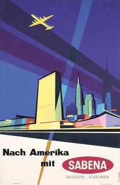 Original 1950s Sabena Airlines USA Travel Poster