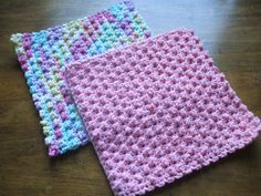 """This 8 inch block is easy to make, works up quickly & takes less than 90 minutes to make! Made with 100% cotton the Berry Stitch Washcloth is perfect for the kitchen or the bath. If can also be used as an afghan block for a great stash busting proje"