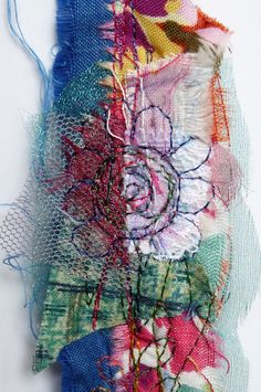 using up some of the vast amounts of scrap fabric that I can never throw out! Added to that I've stitched some random flowers by machine. All great fun! Fabric Manipulation Techniques, Textiles Techniques, Textile Fiber Art, Textile Artists, Free Machine Embroidery, Embroidery Art, Sewing Crafts, Sewing Projects, Fabric Scraps