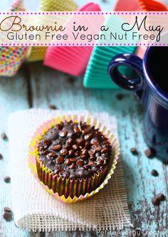 Gluten Free Vegan Brownie In A Mug-Easy single brownie, warm every time from the microwave! #brownie, #mug, #glutenfree