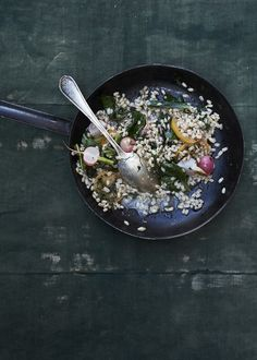 Barley Risotto with Radishes and Preserved Lemon from Feast: Generous Vegetarian Meals for Any Eater and Every Appetite by Sarah Copeland | photo by Con Poulos
