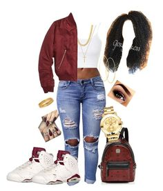 Maroon Jordan 6's ✨ by queenmeelah on Polyvore featuring polyvore, fashion, style, Topshop, MCM, Movado, Bold Elements, Lana, Gucci and clothing