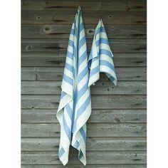 Blue Linen Bath Towels Set