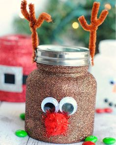 Christmassy Treat Jar Decorating Ideas | These are so fun to make to pack treats in!