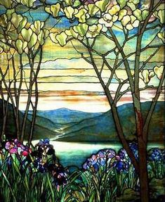 Stained glass panel by Louis Comfort Tiffany, New York C1900