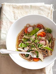 Spring is around the corner—pair spring veggies with leftover chicken for a delicious noodle bowl perfect at lunch or dinnertime.