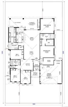 Today I have this large family home with scullery, activity, study and home theatre… It's a pretty standard layout and would fit a regular residential house block. The kids' bedrooms are clustered together on one side away from. Dream House Plans, Modern House Plans, House Floor Plans, Wooden Greenhouses, Outdoor Kitchen Design, House Layouts, Kitchen Layout, Home Theater, Autocad