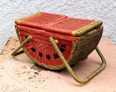 Vintage Watermelon Wicker Picnic Basket SO Charming by MysticLily