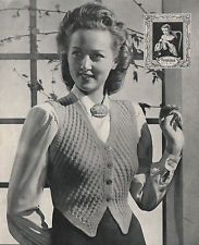 Vintage 1940s Knitting Pattern Lady's Waistcoat 3Ply.