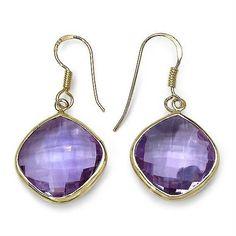 Majesty Diamonds - Amethyst Drop Earrings 24 3/5 Cushion Cut Stones in Yellow Gold Plated