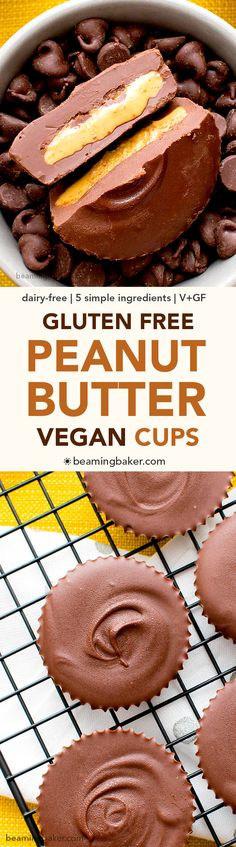 Gluten Free Vegan Peanut Butter Cups (V+GF): a simple, 5-ingredient recipe for rich, chocolate cups stuffed with peanut butter filling. #Vegan #GlutenFree #DairyFree | BeamingBaker.com