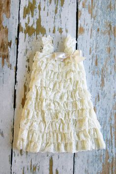 Ivory Flower Girl Dress - Ivory Lace Ruffle Petti Ruffle Dress, vintage inspired -Perfect for Weddings, Birthdays 6-12, 2/3T, 4T, 5/6, 7/8
