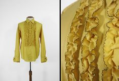 Items similar to Vintage Gold Ruffle Tuxedo Shirt Yellow Tux Button Up Long Sleeve - Size 14 - 34 on Etsy Gold Tux, Tuxedo Shop, Vintage Yellow, Button Up, Vintage Outfits, Long Sleeve Shirts, Ruffle Blouse, Size 16, Nerd