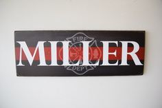 Firefighter Name Sign Firefighter Decor Family Name by Herosigns