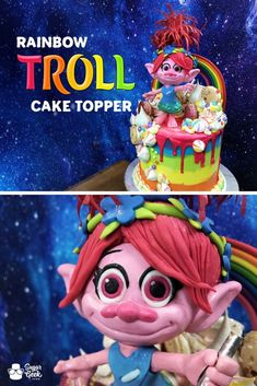 Rainbow Troll Cake Topper – Sugar Geek Show Cake Recipes From Scratch, Best Cake Recipes, Dessert Recipes, Cake Decorating Techniques, Cake Decorating Tutorials, Troll, Cake Competition, Cake Structure, Hazelnut Cake