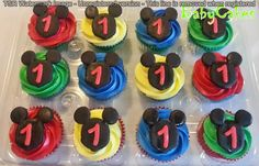 Mickey Mouse themed 1st birthday cupcakes.