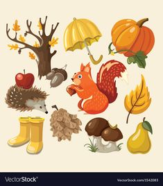 Illustration about Set of elements and items that represent autumn. Illustration of food, crops, autumn - 33276749 Autumn Crafts, Fall Crafts For Kids, Autumn Art, Autumn Leaves, Thanksgiving Background, Free To Use Images, Halloween Drawings, Stock Foto, Autumn Activities