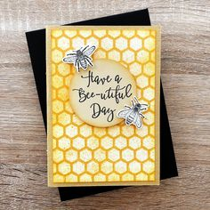 Using Darkroom Door Buzzing Bees Stamp Set, Honeycomb Background Stamp, Ranger Archival Ink and Dylusions Ink Sprays! Distress Markers, Distress Oxide Ink, Birthday Sentiments, Birthday Cards, 3rd Birthday, Buzz Bee, Insect Hotel, Leaf Stencil, Black And White Theme