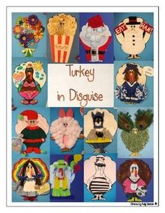 Turkey in Disguise This is one of my ALL-TIME favorite student activities! This packet includes: -a letter (written by Mr. Turkey) to send home to parents -a template of Mr. Turkey to print and copy for each student -page of photographs of Thanksgiving Projects, Thanksgiving Art, Thanksgiving Preschool, Kindergarten Projects, School Projects, Projects For Kids, Kids Crafts, School Holidays, School Fun