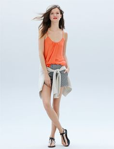 Sweet Summer Time!! ---Pair this Banana Republic cami with printed shorts for the perfect poolside look.