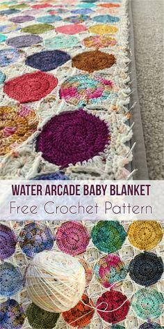 Water Arcade Baby Blanket [Free Crochet Pattern] #freecrochetpatterns #crochet #crochetlove #babyblanket #waterarcade