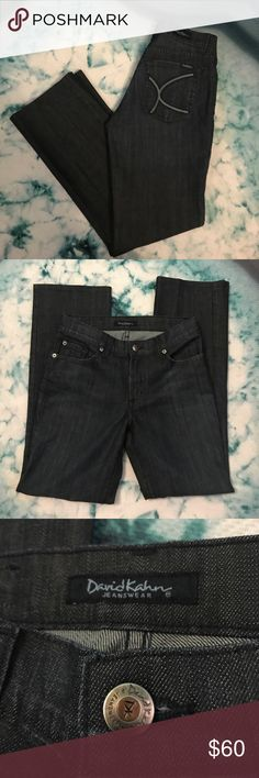 "David Kahn Darkwash Cigarette Leg Denim Jeans 2 New condition David Kahn designer quality jeans in a uniform dark wash and straight cigarette leg. Size 2, measures 14.5"" straight across waist and 29"" inseam. Reasonable offers always accepted. 💕👖 David Kahn Jeans"