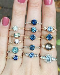 "Which is your favorite? ✨✨ Ethically sourced Sapphire beauties from Montana, USA. And yes, ""all of them"" is an acceptable answer"